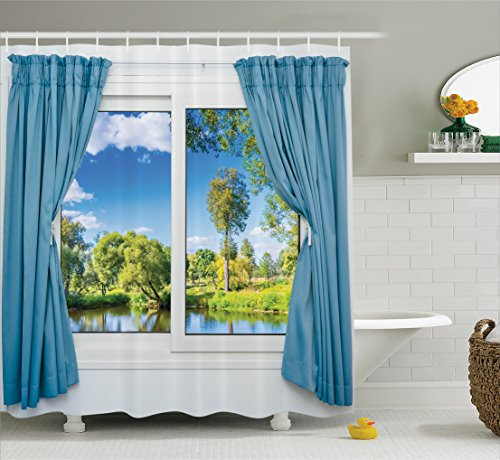 House Decor Shower Curtain Set By Ambesonne, Rural View From The Window Reflection in Water Lake River Tree In Summertime, Bathroom Accessories, 69W X 70L Inches