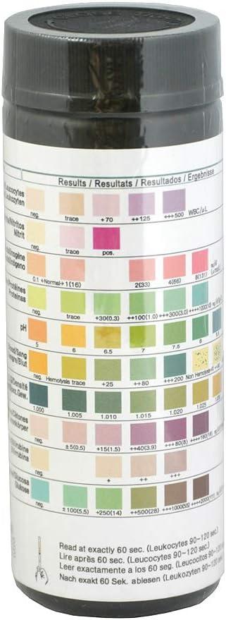 100 Tiras reactivas de analisis de orina de 10 Parámetros: Leucocitos, nitritos, urobilinógenos, proteínas, pH, sangre, densidad, cetona, bilirrubina ...