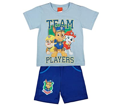 T-Shirt mit KURZER Hose in blau Baumwoll Farbe Grau Jungen Paw Patrol Sommer-Set zweiteilig Kurzarm T-Shirt mit Short in GR/ÖSSE 110 128 ideales Strand-Outfit 116 122