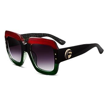WYYY Sonnenbrillen Schutzbrillen Ms. Klassisch Retro Rundes Gesicht Quadratische Box Polarisiertes Licht Dekoration Sonnenschutz Anti-UVA UV-Schutz 100% (Farbe : Red-green) upoDDjSum