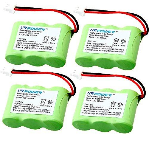 URPOWER® 4 Pack 600mAh Rechargeable Cordless Phone Batteries for Vtech BT-17333 BT-27333 CS2111 CS5111-2 CS5121 CS5121-2 CS5121-3 BT-17233 BT-27233 Telephone Battery Replacement Packs