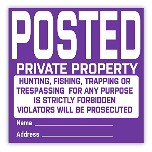SMARSTICKER Posted Private Property Signs - No Hunting Trespassing - Vinyl Durable Tyvek Posted Signs 12 Pack (Purple)