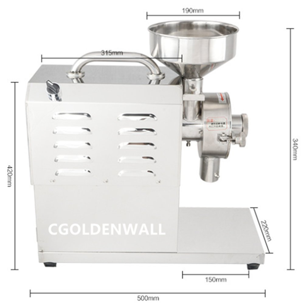 CGOLDENWALL SY-1200 with Pedesta Small Stainless Steel Grain Mill Food Processing Machinery Multi Function Grain Grind Mill Superfine Grain Grinder Powdering Machine Lapping Machine (110V) by CGOLDENWALL (Image #2)