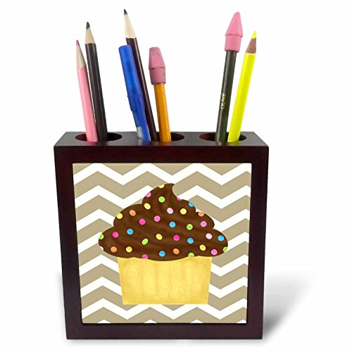 - 3dRose ph_110391_1 Chevron Stripe Chocolate Cupcake-Tile Pen Holder, 5-Inch