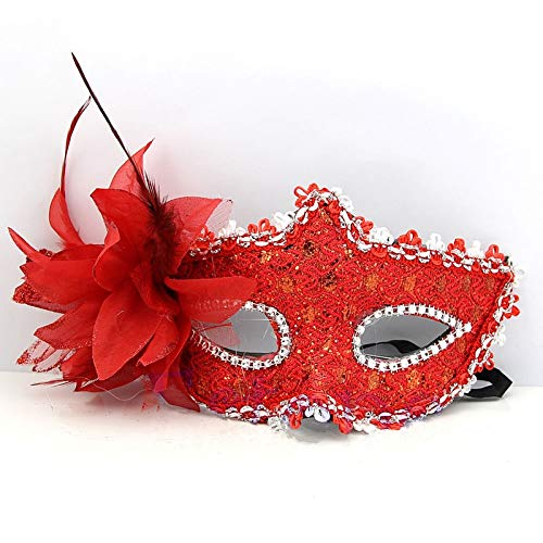 (Morrenz - Lace Venetian Mask Masquerade Carnival Masked Ball Fancy Dress Costume [ Red ])