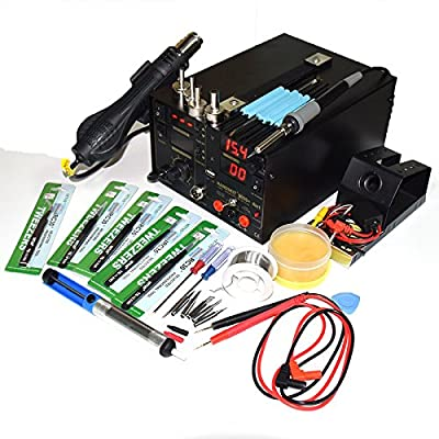 4 in 1 Mobile computer welding Rework Soldering Station Hot Air Gun DC15V2A USB Power Supply 110V AC US Plug