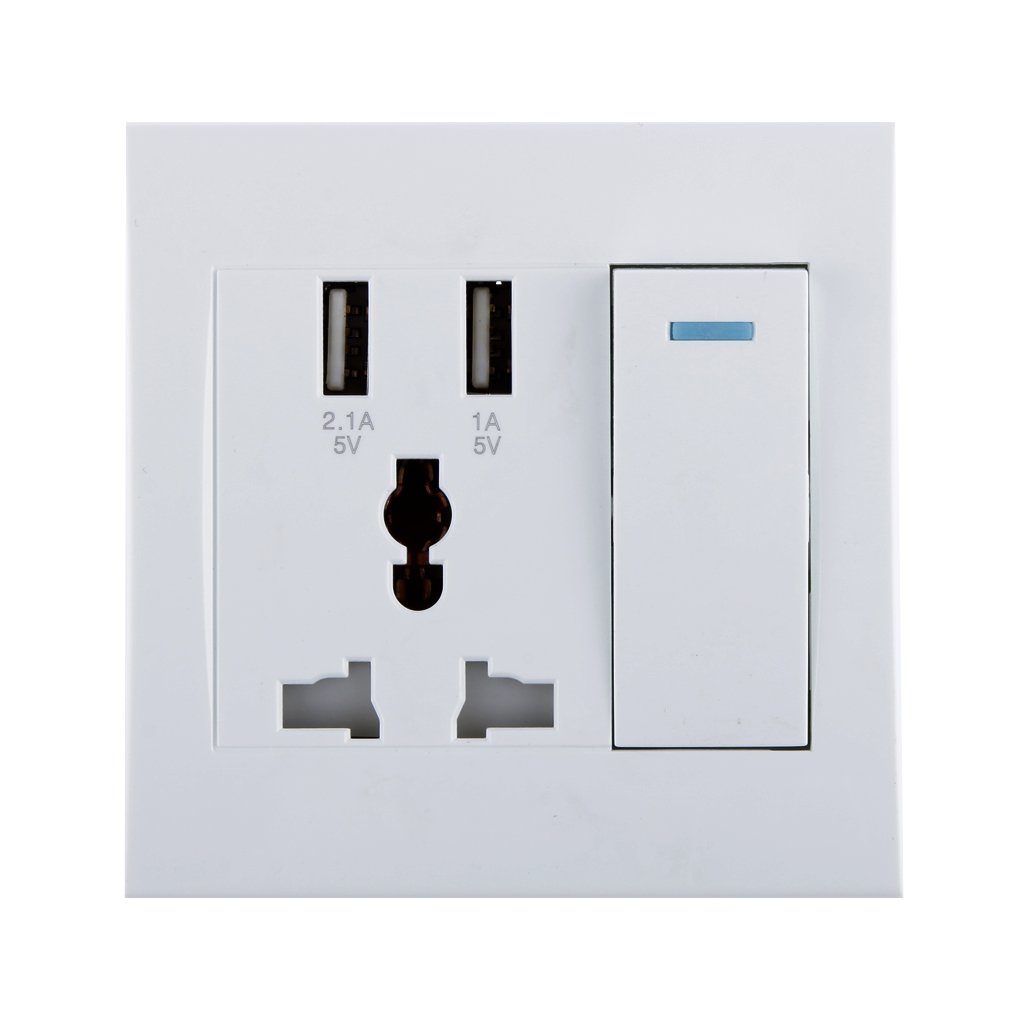 Generic Imported White 2.1A 2 Usb Wall Socket Charger Power Panel ...