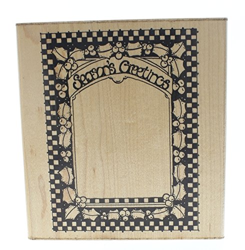 (Dots Season's Greetings Holly Berry Frame V118 Wooden Rubber Stamp)