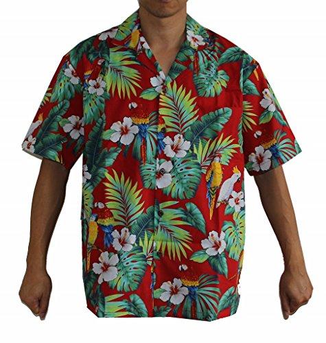 Men's Hibiscus Parrots Hawaiian Luau Cruise Aloha Shirt (L, RED) ()