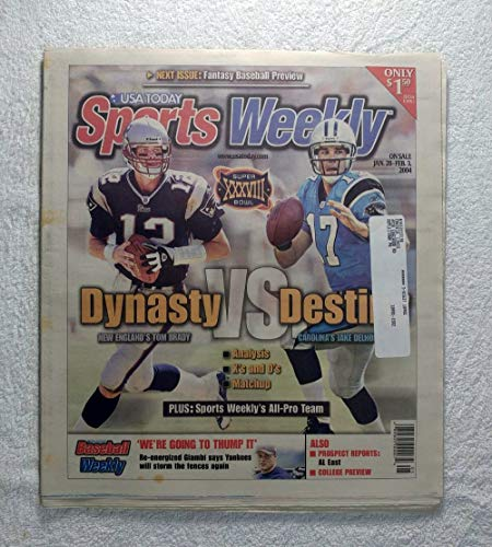 Tom Brady (New England Patriots) & Jake Delhomme (Carolina Panthers) - Super Bowl XXXVIII Preview - Sports Weekly Magazine - January 28, - Bowl Xxxviii Super
