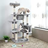 ☑ SONGMICS Large Cat Tree Condo Multi-level Cat Tower with Scratching Post Pad Kitten House Light Grey UPCT16H ☑
