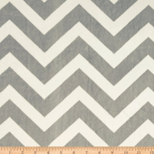 Shannon Minky Cuddle Chevron Silver/Snow Fabric By The Yard