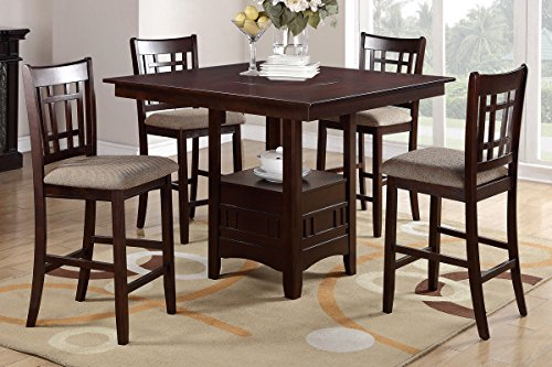 Poundex F2346 & F1205 Brown Finish W/ Beige Fabric Counter Height Dining Set