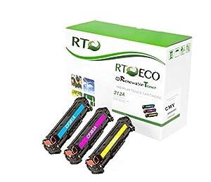 Renewable Toner 312A Compatible Color Toner Set 3-Pack CMY Replacement Cartridges for HP CF440AM LaserJet Includes: CF381A / CF382A / CF383A