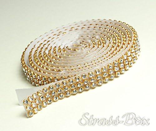 Crystal/oro Malla brillantes banda ss8auto-adhesivos ancho a elegir, ribete 1,15m de largo con cristales, transparente, 3 reihig / 10 mm x ca.1150 mm