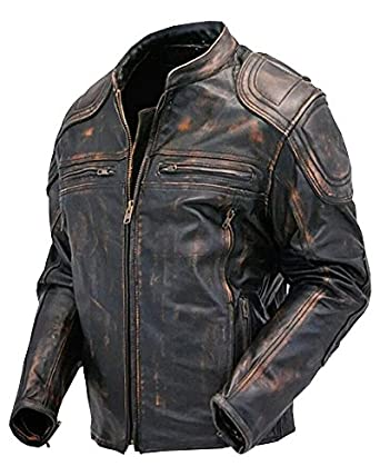 Cafe Racer Quilted Distressed Vintage Motorcycle Leather Jacket ...