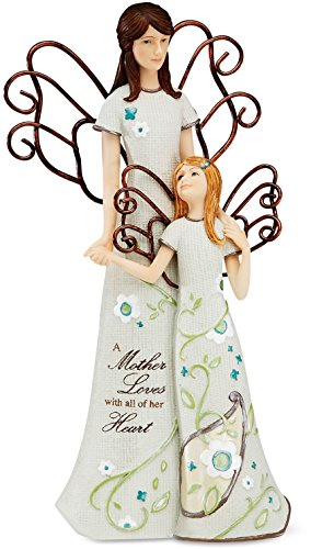 Paisley Angel (Perfectly Paisley Mother and Daughter Angel Figurine by Pavilion, 8-Inch Tall, Inscription a Mother Loves with Her Heart)