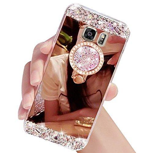 Auroralove 豪華なラインストーンメイクアップケース Galaxy S6用 ハンドメイド/光るダイヤモンド/ソフト/TPU/ ミラーガラスケース ガールズ/レディース用 固定リングスタンド付き Samsung Galaxy S7 Edge B073F63VJJ Samsung galaxy S7 Edge|ローズゴールド ローズゴールド Samsung galaxy S7 Edge