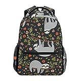 U LIFE Backpack School Bags Laptop Casual Bag for Boys Girls Kids Men Women Cute Sloth Spring Summer Floral Flowers