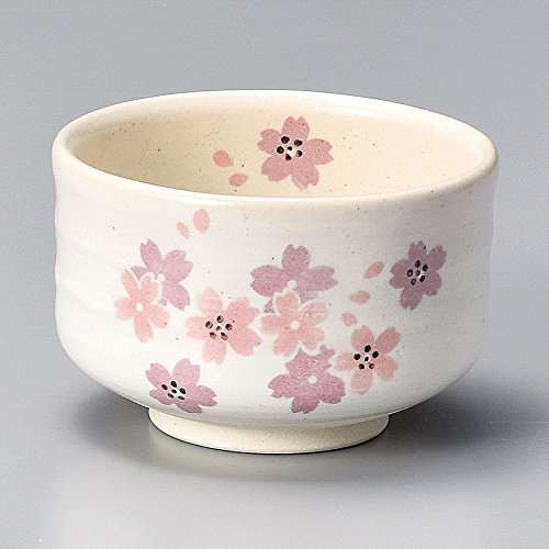 Yamakiikai Minou Pottery Japanese Tea Bowl HaruUrara Pink Cherry Blossoms made by 丸好 (MaruYoshi) F1723 from Japan