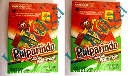 2 - Pulparindo Watermelon Flavor Hot & Salted Mexican Tamarind Pulp 20 pcs each (Watermelon Pulp)