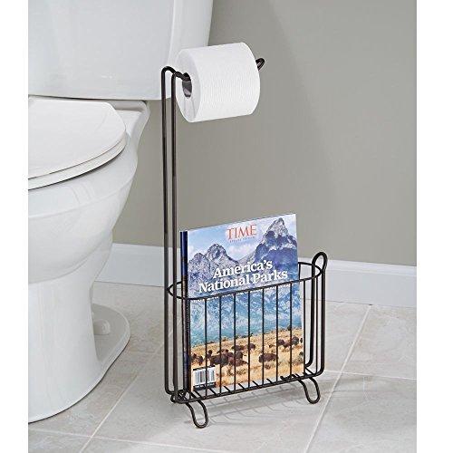Interdesign Classico Wall Mount Toilet Paper Holder And Magazine Rack Bathroom Organizer