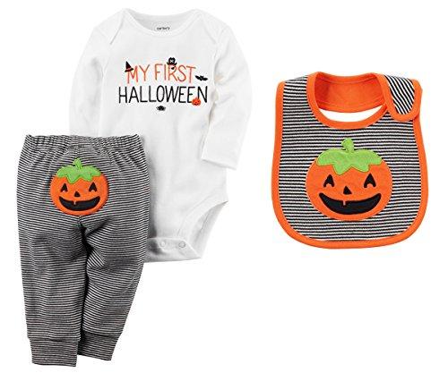 Carters Unisex Babys First Halloween Long Sleeve Bodysuit Pants Bib Set (Newborn) ()