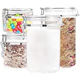 Food Storage containers canister set - Cereal Container Set of 4 Air Tight Canisters with lids for the dry flour coffee rice acrylic plastic clear glass airtight cannister sets for kitchen pantry organizer jar