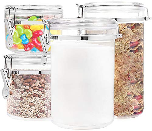 Food Storage containers canister set - Set of 4 Air Tight Canisters with lids for dry flour Cereal coffee rice acrylic plastic clear glass airtight cannister for ()