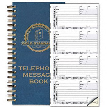 Rediform® Gold Standard Line™ Wirebound Telephone Message Book BOOK,PHONE MSG 2PT,WE (Pack of10)
