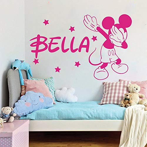 Wikaus Mickey Minnie Mouse Wall Art Decal Sticker Cartoon Custom Name Mickey Minnie Mouse Star Wall Decal Baby Nursery Kid Room Personalized Name]()