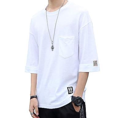 af8c9c832de832 Amazon | Tシャツ 半袖 メンズ 夏服 丸首 七分袖 五分袖 無地 胸ポケット付き インナーシャツ 涼しい カジュアル カットソー | Tシャツ・カットソー  通販