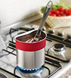 Belwares Stainless Steel Spoon Dock for Utensils - This Cup Hangs on Saucepans and Pots for Preparing and Serving Food Without Creating a Mess - Use as a Measuring Cup, Mix, Pouring … (Red)