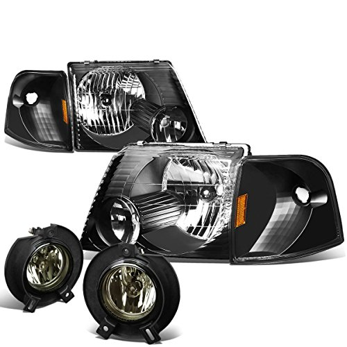 For Ford Explorer U152 Pair of Black Housing Amber Reflector Headlights+Smoked Fog Lights