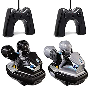 SHARPER IMAGE 2.4Ghz Remote Control Bumper Stunt Cars with Drivers, Multiple Player Technology, Easy to play for kids, RC Toys with Ejectable Drivers Black/Silver