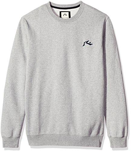 (Rusty Men's Tall Size Soulside Zip Thru Hooded Fleece Sweatshirt, Grey Marle, Small)