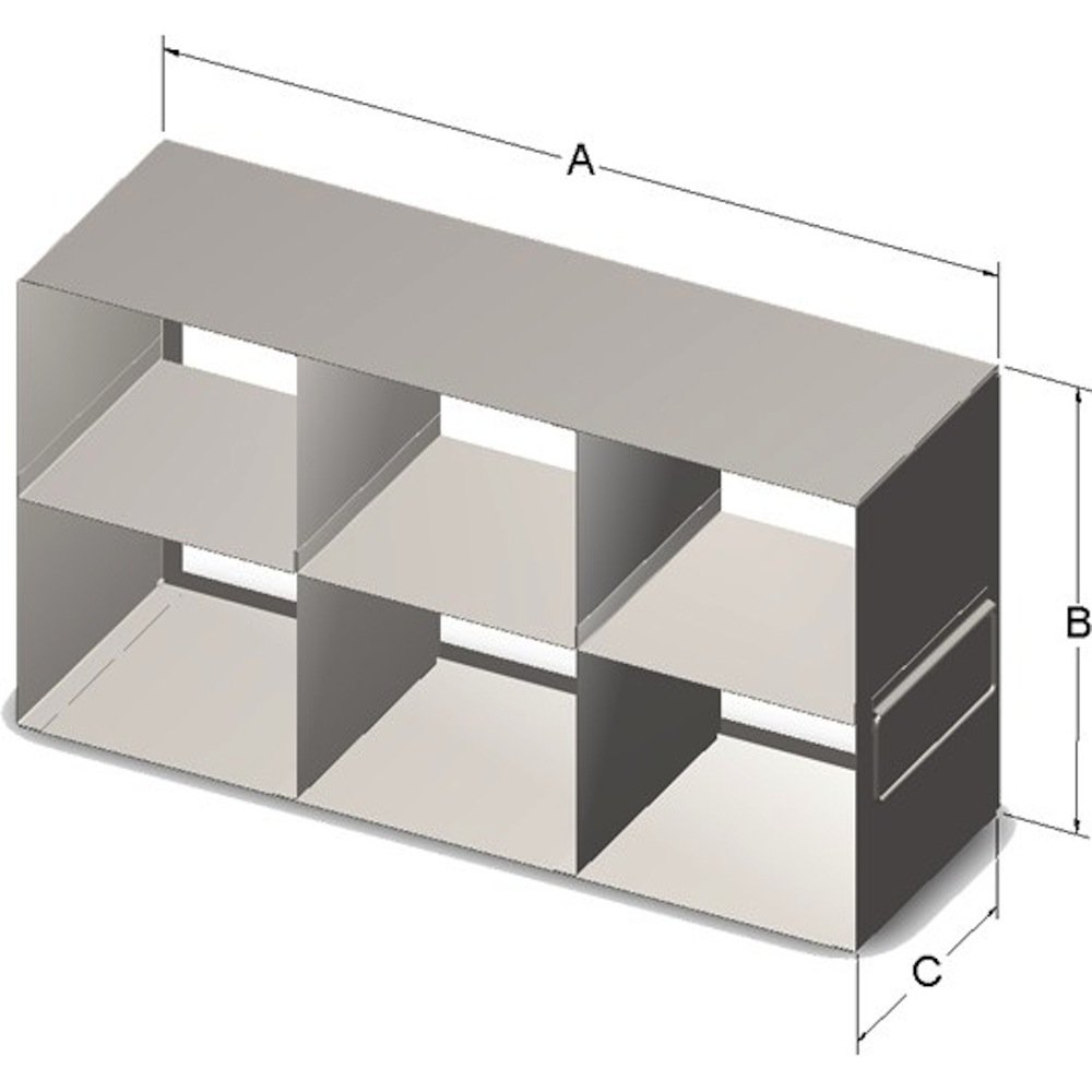 Alkali Scientific Upright Rack for 5.75 x 5.75 x 4.75-Inch High Boxes Containing 15 mL & 50 mL Tubes, Stainless Steel, with Handles.