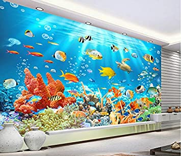 Fototapete 3D Wandtapete Unterwasser Tier Aquarium Tropen ...