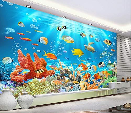 Fotomurales 3D Papel Pintado Submarino Animal Acuario Peces Tropicales Murales, Niños Dormitorio Cartoon Decorar Wallpaper...