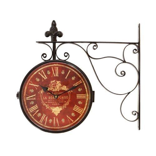 Adeco Iron Red Face Roman Numerals with Scroll Wall Mount Round Wall Hanging Clock Home Decor (Roman Scroll)