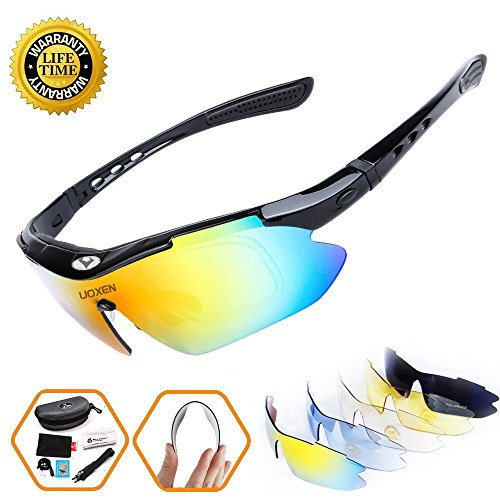 Polarized Sports Sunglasses Cycling Sun Glasses For Men Women With 5 Interchangeable Lenes Running Driving Fishing Golf Unbreakable Night Vision UV Protection (Black)