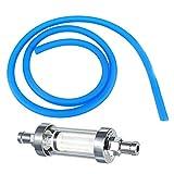 Baoblaze Universal Motorcycle 6mm Gas Fuel Filter Petrol Pipe Hose Line+4 Clip - Blue