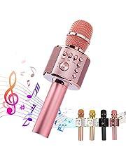 ميكروفون بلوتوث لاسلكي من انكوكا كاريوكي 3 في 1 متعدد الوظائف المحمولة للأطفال، آلة كاريوكي محمولة لمكبر الصوت المنزلي، الغناء للحفلات (روز جولد بلاس)