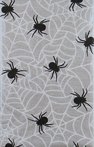 Mainstream International Halloween Spiders on Their Webs Vinyl Flannel Back Tablecloth (52