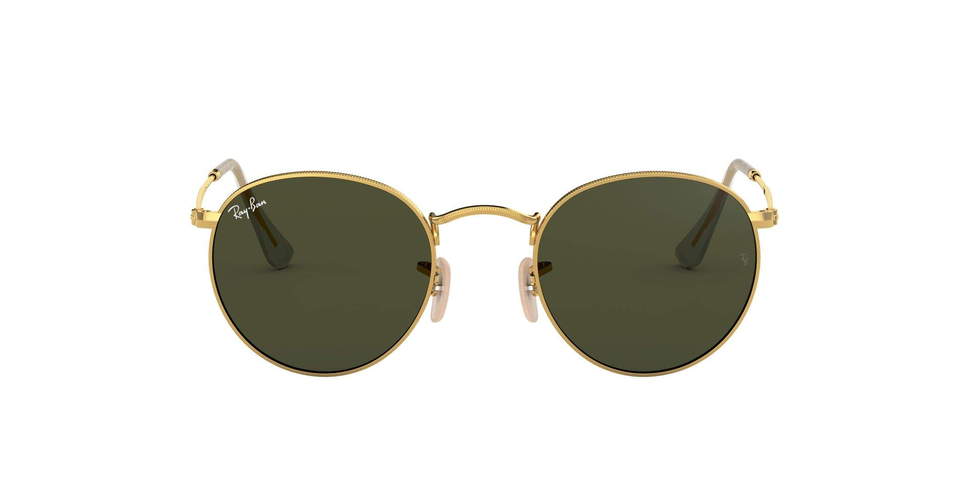 RAY-BAN RB3447N Round Flat Lenses Metal Sunglasses, Gold/Green, 53 mm by RAY-BAN