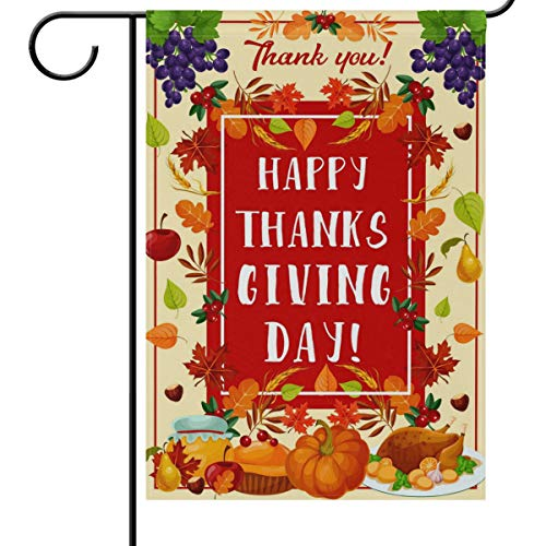 Wamika Thanksgiving Day House Flags 28 x 40 Double Sided, Turkey Cornucopia Pumpkin Berries Apple Pie Maple Syrup Harvest Welcome Autumn Fall Outdoor Yard Garden Flag Banner Party Thanksgiving Decorat