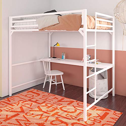 DHP 4308129 Miles Metal Loft Desk, Kids & Teens Full Size Bunk, White Beds, (Loft Desk Bed White)