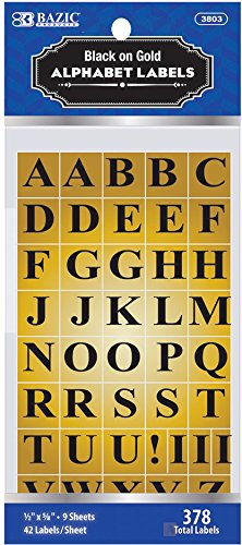 Bazic Gold Foil Alphabet Label - 378/Pack 144 pcs sku# 311108MA by Bazic