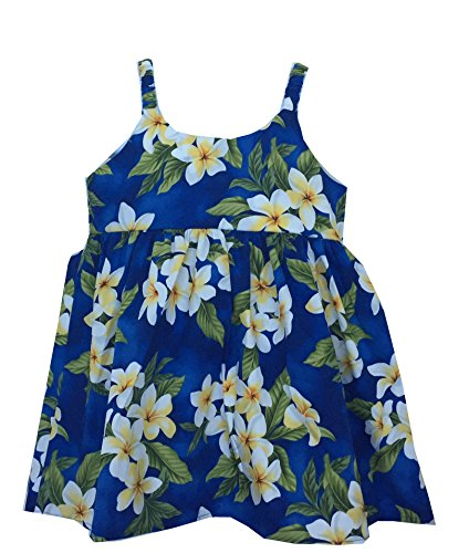 Alohawears Clothing Company Girl's Plumeria Season Cruise Luau Hawaiian Bungee Dress (6, Navy)