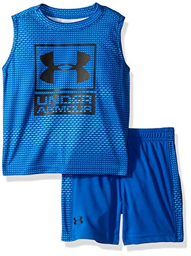 Under Armour Boys' Little UA Muscle Tank and Short Set, Ultra Blue-S19, 7